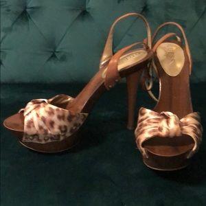 Guess Leopard Print Wooden Platform Heels
